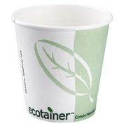 Compostable cardboard cups white-green 24 cl - Set of 50