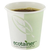Compostable cardboard cups white-green 11 cl - Set of 50