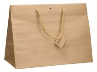 Box of 10 glossy brown shopping bags with cord handles 29 x 39 x 18 cm