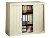 Tambour cabinet, H 100 x W 120 cm, 2 shelves + base