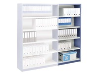 Versatile shelving extension element H 200 x W 96 x D 38 cm with back panel metal single access
